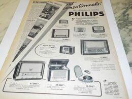 ANCIENNE PUBLICITE RADIO  PHILIPS 1954 - Radio & TSF