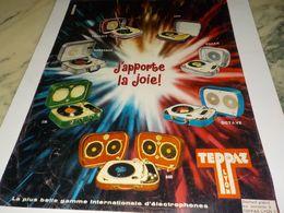 ANCIENNE  PUBLICITE J APPORTE LA JOIE  TEPPAZ LYON 1959 - Musica & Strumenti