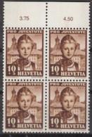 SCHWEIZ 400, 4erBlock, Mit Abart, Postfrisch **, Pro Juventute 1941, Trachten - Errors & Oddities