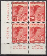 SCHWEIZ 401, 4erBlock, Mit Abart, Postfrisch **, Pro Juventute 1941, Trachten - Errors & Oddities