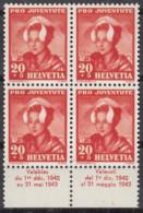 SCHWEIZ 414, 4erBlock, Mit Abart, Postfrisch **, Pro Juventute 1942, Trachten - Errors & Oddities