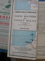 Carte Routière Du Congo Belge Et Du Ruanda Urundi. * Panneau Sud. 1949 Touring Club Du Congo Belge. Faes.1/2000.000 - Cartes Routières