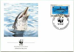 Enveloppe F.D.C. De Montserrat (Plymouth 1990) (WWF) - Les Dauphins - (N° Yvert & Tellier 746) - Montserrat