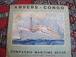 Anvers - Congo Baudouinville Compagnie Maritime Belge 1939 Avec Carte Du Congo Belge - Folletos Turísticos