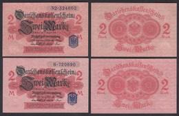 Darlehnskassenschein 2 Stück á 2 MARK 1914 Ro 52d UNC (1) Serie 6 + 32   (26170 - Zonder Classificatie