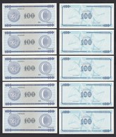 Kuba - Cuba 5 Stück á 100 Peso FEC 1985 Pick FX25 UNC (1)  (89096 - Bankbiljetten