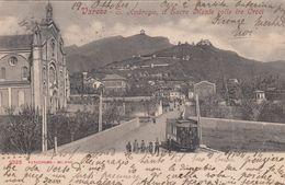 VARESE-SANT AMBROGIO SACRO MONTE COLLE TRE CROCI-TRAM IN VISTA-CARTOLINA  VIAGGIATA  IL 19-10-1904 - Varese