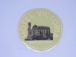 Cx13 CC40) España Spain HOTEL VICTORIA Barcelona Etiquette Label Diam. 12,5cm - Etiketten Van Hotels