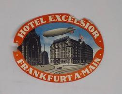 Cx13 CC42) Germany HOTEL EXCELSIOR Frankfurt A. M.  Etiquette Label 9x12cm - Etiketten Van Hotels