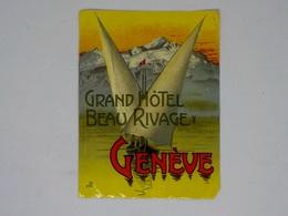 Cx13 CC44)Suisse GRAND HOTEL BEAU RIVAGE Genève Etiquette Label Diam. 15x11cm - Etiketten Van Hotels