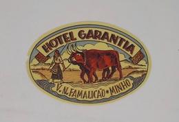 Cx13 CC49) Portugal HOTEL GARANTIA Vila Nova De Famalicão Minho Etiquette Hotel Label 7,5x11cm - Etiketten Van Hotels