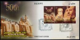EGYPT / 2016 / UN / UNESCO / SAVE ABU SIMPEL TEMPLE - 50 YEARS / RAMESSES II / NEFERTARI / THARWAT OKASHA / FDC - Egypt