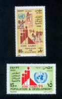 EGYPT / 1994 / UN / ICPD CAIRO / UN INTL CONFERENCE ON POPULATION & DEVELOPMENT / PHARAONIC MURALS / HIEROGLYPHICS / MNH - Egypt