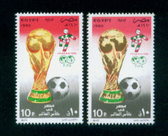 EGYPT / 1990 / COLOR VARIETY / SPORT / FOOTBALL / WORLD CUP FOOTBALL CHAMPIONSHIP ; ITALY / FLAG / TROPHY / MNH / VF - Egypt
