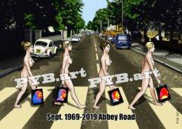 PYB: 50e Anniversaire De La Sortie D'Abbey Road Des Beatles 26 Sept. 1969-2019 [ Nu Nude Femme VW Beetle ] - Dibujos