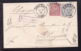 Ziffer 1 Gr. Und 2 Gr. Auf R-Brief Mit K2 ERFURT 1.9.70 Nach Rheydt - North German Conf.