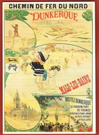 CHEMINS DE FER Du NORD - DUNKERQUE-MALO LES BAINS 1900- Carte Publicitaire Moderne- Scans Recto Verso- Paypal Sans Frais - Dunkerque