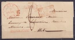 """L. Càd HUY /7 JANV 1834 Pour METZ - Griffes """"L.P.B.2.R."""" & """"APRES LE DEPART"""" + [BELGIQUE / PAR / THIONVILLE] - Port """"8"""" - 1830-1849 (Belgique Indépendante)"""