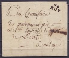 """L. Entête Département De L'Ourthe Datée 17 Vendemiaire An 6 (1797) De PONTILLAS Pour LIEGE - Griffe """"96 / HUY"""" - 1794-1814 (French Period)"""
