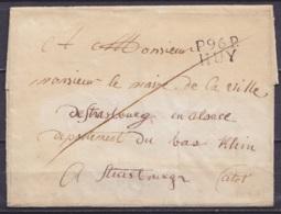 """LSC (sans Texte) Pours STRASBOURG - Griffe """"P.96.P. / HUY"""" - 1794-1814 (Période Française)"""