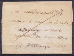 "LSC (sans Texte) Pours STRASBOURG - Griffe ""P.96.P. / HUY"" - 1794-1814 (French Period)"