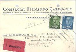 TARJETA  COMERCIAL 1959 REEMBOLSO  AL DORSO SELLOS RECIBO - 1951-60 Storia Postale