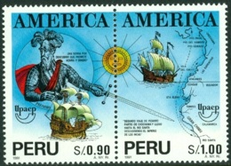 AMERICA-UPAEP - PERU 1993 (FOR 1991) DISCOVERY OF AMERICA PAIR** (MNH) - Organizations