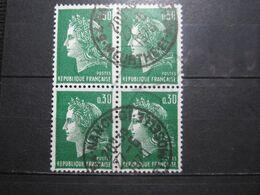 """VEND BEAUX TIMBRES DE FRANCE N° 1611 EN BLOC DE 4 , OBLITERATION """" NANCY """" !!! - 1967-70 Marianne De Cheffer"""