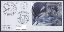 TAAF – Crozet –  Cachets & Sign. Prog. Ornithologie 56e Mission Oblit Alfred Faure 1-1-2019 /bloc Oiseau - French Southern And Antarctic Territories (TAAF)