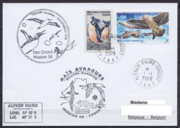 TAAF – Crozet –  Cachets & Sign. Prog. Ornithologie 56e Mission Oblit Alfred Faure 1-1-2019 - French Southern And Antarctic Territories (TAAF)