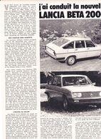 Feuillet De Magazine Lancia Beta 2000. 1975 - Cars