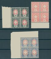 SWITZERLAND. TELEGRAPHSTAMPS 1881, 3 BLOCKS OF 4 MNH - Télégraphe
