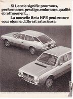 Feuillet De Magazine Lancia Beta HPE 1976 - Cars