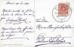 Postal Circulada A Barcelona Año 1917. - 1889-1931 Royaume: Alphonse XIII