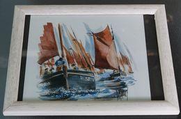 Aquarelle BERNARD MORINAY Artiste Peintre Breton Armor Argoat Vieux Gréements 18*20 Cms - Watercolours