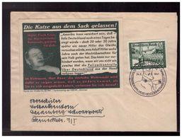 """DR- Reich (008504) Beleg Mit Parole Der Woche """"Die Katze Aus Dem Sach Gelassen!"""" Mit SSTMünchen Vom 24.8.1941 - Germany"""