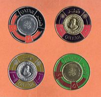 Lot De 4 Timbres Du QATAR - Or Et Argent - Qatar