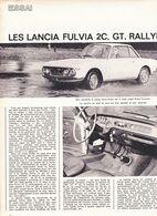 Feuillet De Magazine Lancia Fulvia 2 C, Gt, Rallye 1968, Essai - Cars