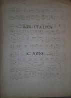 Spartito Manoscritto - Air Italien Pour Piano Di C. Voss - Secolo XIX - Old Paper