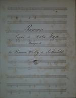 Spartito Manoscritto - Romance - V. Hugo E B. W. De Rothschild - Secolo XIX - Old Paper