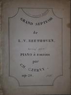 Spartito Manoscritto - Grand Septuor De Beethoven Pour Piano Par Czerny Sec. XIX - Old Paper