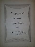 Spartito Manoscritto - Melanconia - Nocturne Pour Piano Par D. De Grau Sec. XIX - Old Paper
