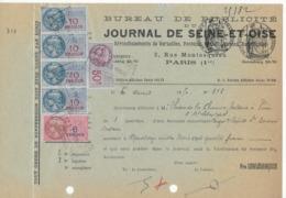 Quittance Pour Insertion Annonce Publicitaire Journal De Seine Et Oise 1950, Papier Timbré 10f Et 1,50f Et 6 Fiscaux - Fiscali