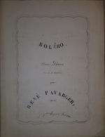 Spartito Manoscritto - Bolero Pour Piano Par R. Favarger - Secolo XIX - Old Paper