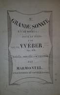 Spartito Manoscritto - Grande Sonate Pour Piano Par J. M. De Weber - Secolo XIX - Old Paper