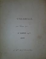 Spartito Manoscritto - Villanelle Pour Piano Par H. Ravina - Secolo XIX - Old Paper