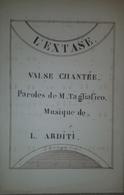 Spartito Manoscritto - L'extase - Valse Pour Le Piano Par L. Arditi - Secolo XIX - Old Paper