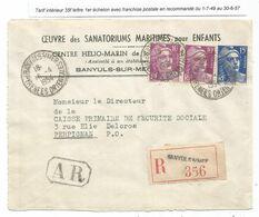 GANDON 15FR BLEU+10FRX2 LETTRE REC AR BANUYS 1954 PYRENEES ORENTALES TARIF FRANCHISE - 1945-54 Marianna Di Gandon