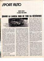 Feuillet De Magazine Lancia 1600 HF 1972 - Cars
