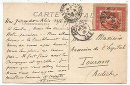 N° 138 PORTE TIMBRE ROUGE DIEU PROTEGE LA FRANCE ALAIS GARD 1909 SUR CARTE - Storia Postale